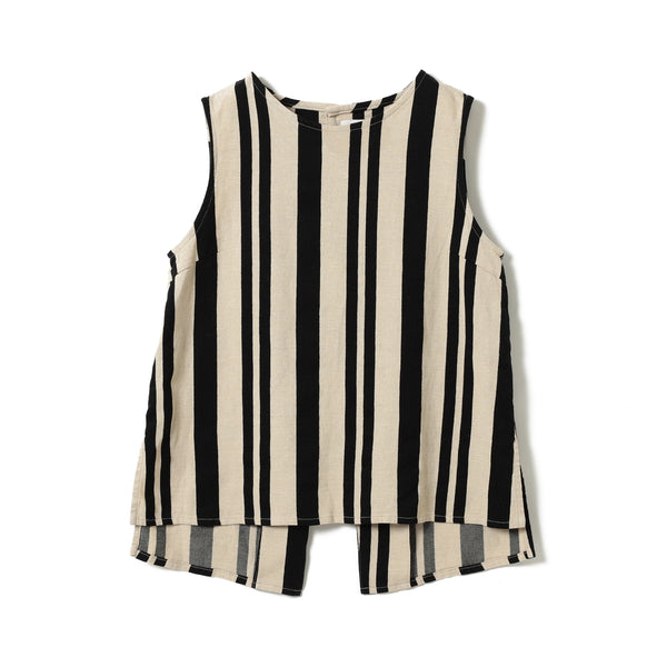 ZALE STRIPE BUTTON BACK TOP