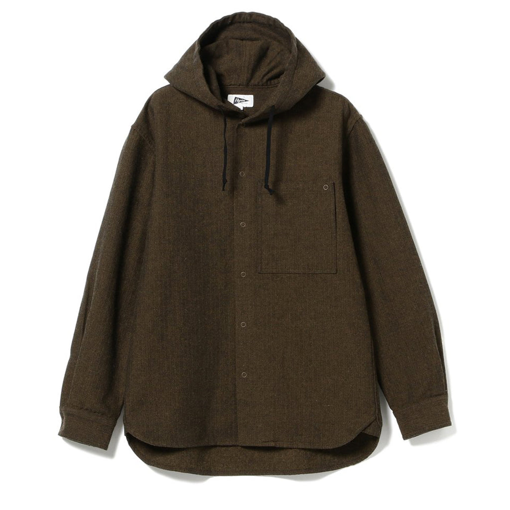 BOYCE HERRINGBONE WOOL HOODED SHIRT