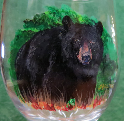 Hand Painted Bear Wine Glasses with Etched Lake Design