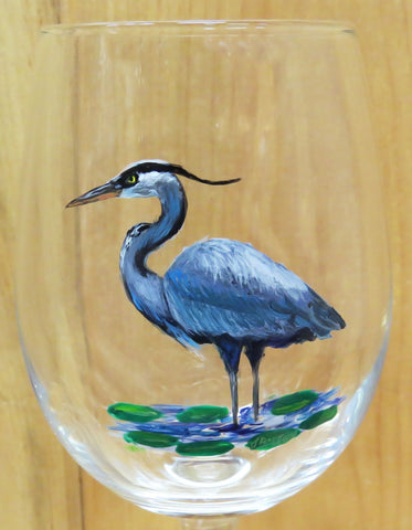 Hand Painted Great Blue Heron Wine Glass