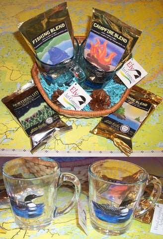 Basket O' Loons Mugs (handpainted in Ely, MN) & Coffee Assortment