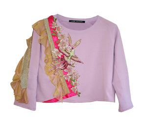 Sweat paradise birds ruffles Lila