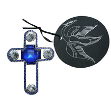 Load image into Gallery viewer, Brooch cross blue