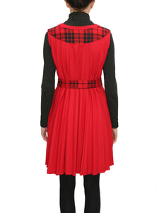 Dress red plissé