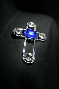 Brooch cross blue