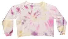 Load image into Gallery viewer, Tie-dye sweater in light pink, soft yellow, pink, fuchsia