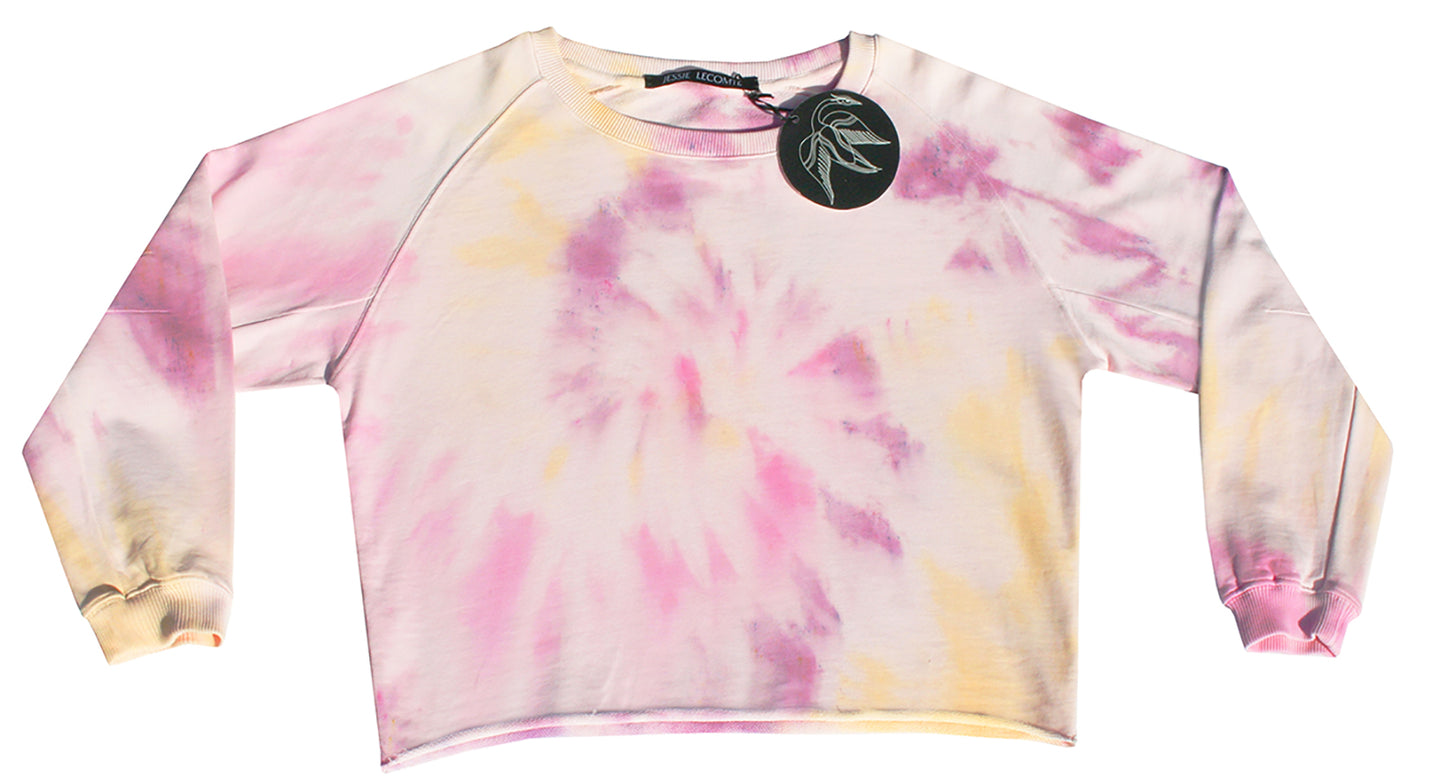 Tie-dye sweater in light pink, soft yellow, pink, fuchsia