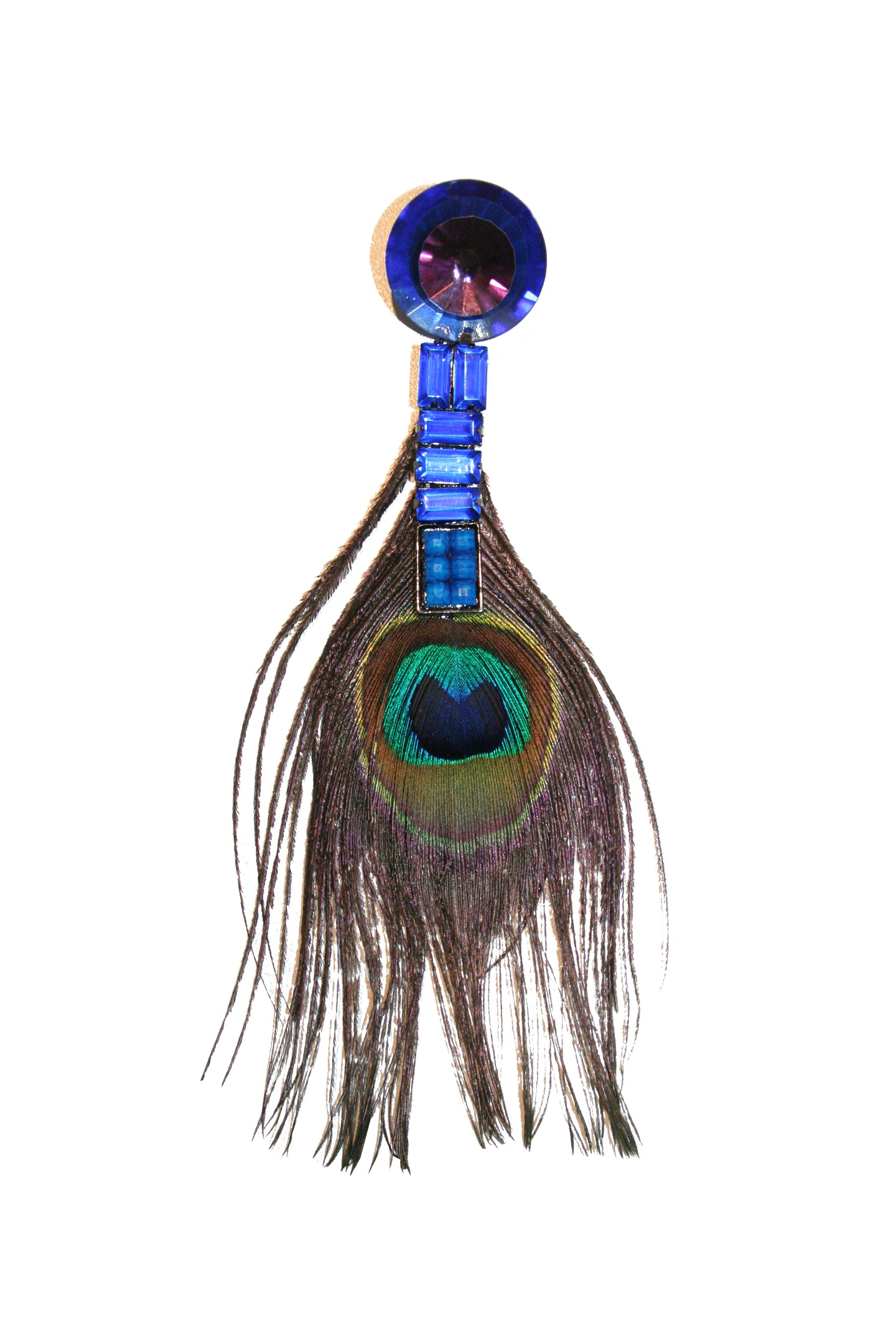 Earring with peacock feather and blue stones