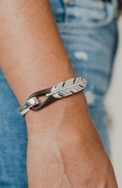Bronze Feather Cuff Bracelet