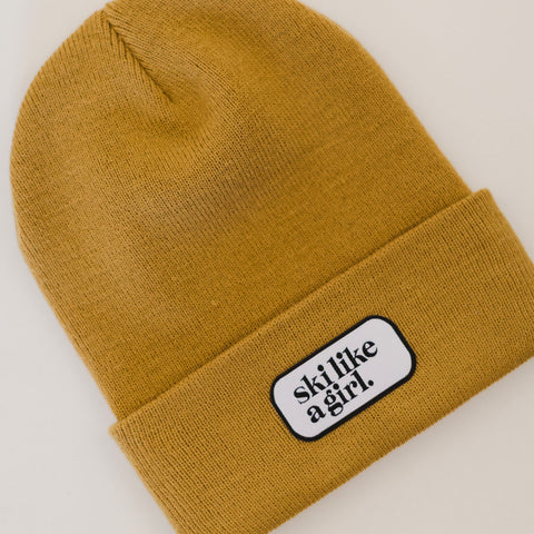 Ski Like a Girl Camel Patch Beanie