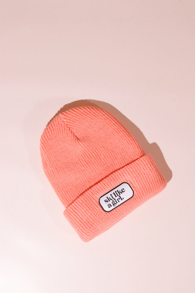 Ski Like A Girl Beanie - Knit Peach