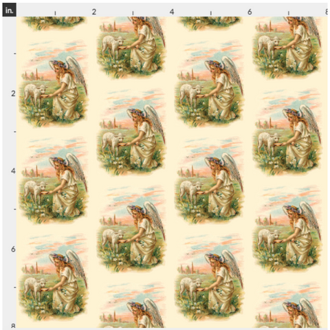 Organic Cotton Fabric By The Yard Antique Angel And Lamb - Baby Print