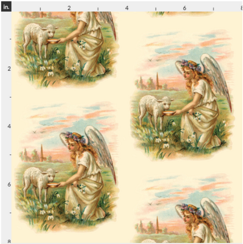 Organic Cotton Fabric By The Yard Antique Angel And Lamb - Large Print
