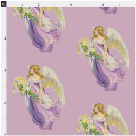 Organic Cotton Fabric By The Yard Antique Angel In Purple - Large Print