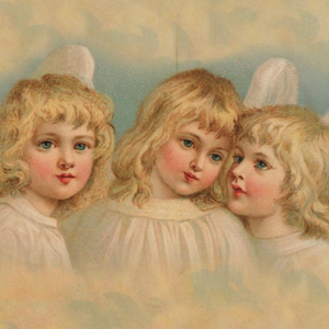 Victorian Organics Three Angels in a Pastel Sky Wood Wall Art Decor