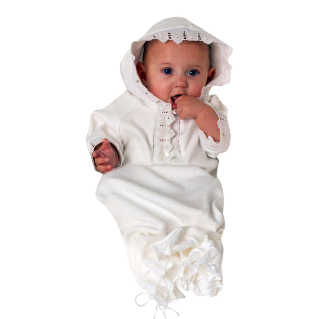 Baby Bunting Hoodie Gown - White Organic Cotton Lace Baby Gift