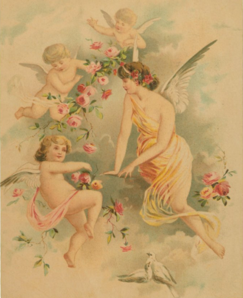 Victorian Organics Angel with Three Cherubs Wood Wall Art Home Decor