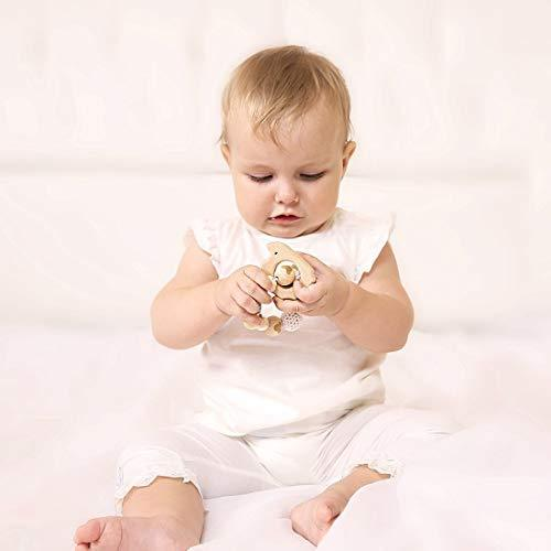 Baby Holding 1 Crochet Bead Rattle