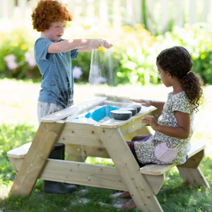 Kids Wooden Picnic Table and Sandpit Play Station 1
