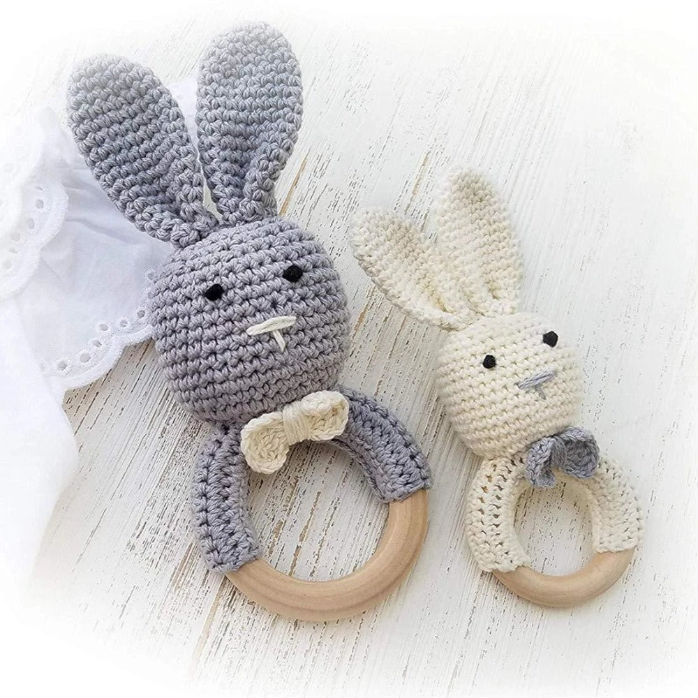 Mali Wear Natural Wooden Baby Toys Cotton Crochet Bunny Teething Ring Teether Rattle Set of 2