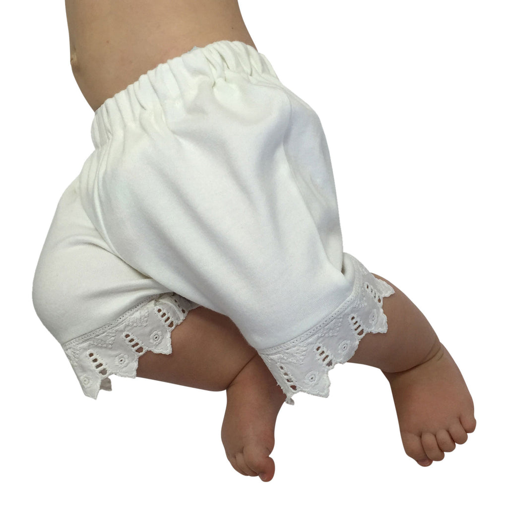 Organic Infant and Toddler White Lace Bloomer
