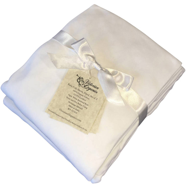 Fitted Crib Sheets Soft Organic Cotton Nursery Baby Bedding Solid White Set Of 2