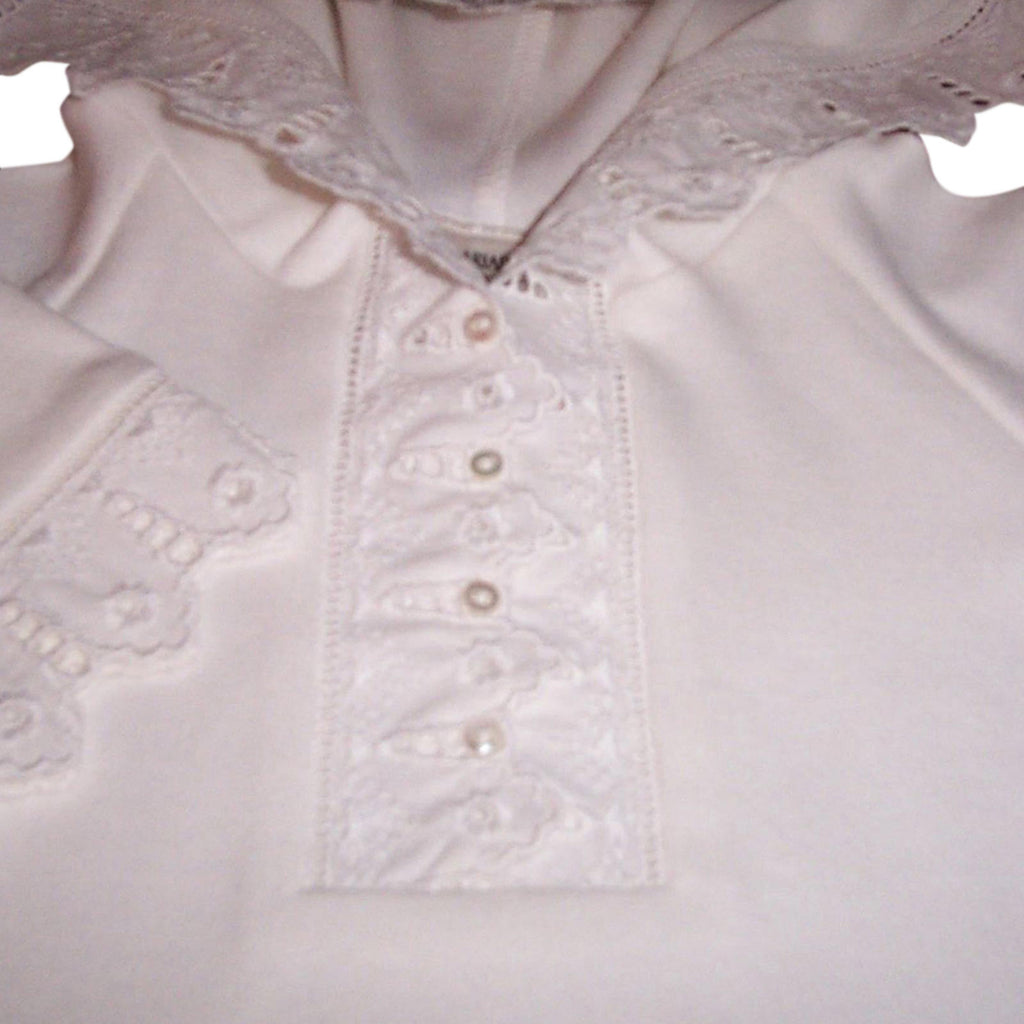 Victorian Organics White Lace Baby Garment Closeup