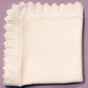 Organic Cotton & Lace Baby Blanket - Custom Swaddle Heirloom