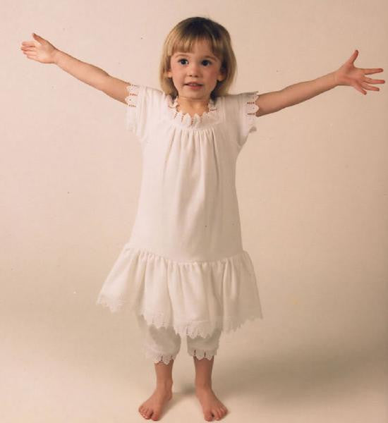 Victorian Organics Girls Cotton Lace Chemise Dress and Bloomer
