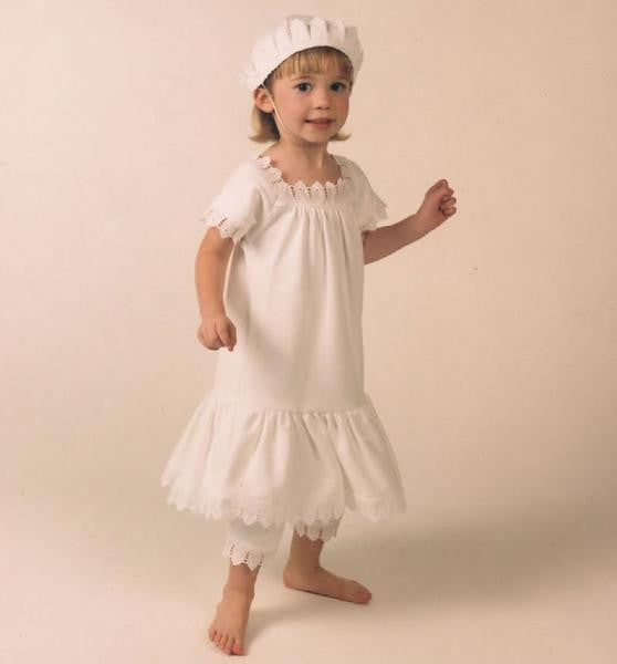 Victorian Organics Girls Cotton Lace Chemise Dress Bloomer and Sailor Hat