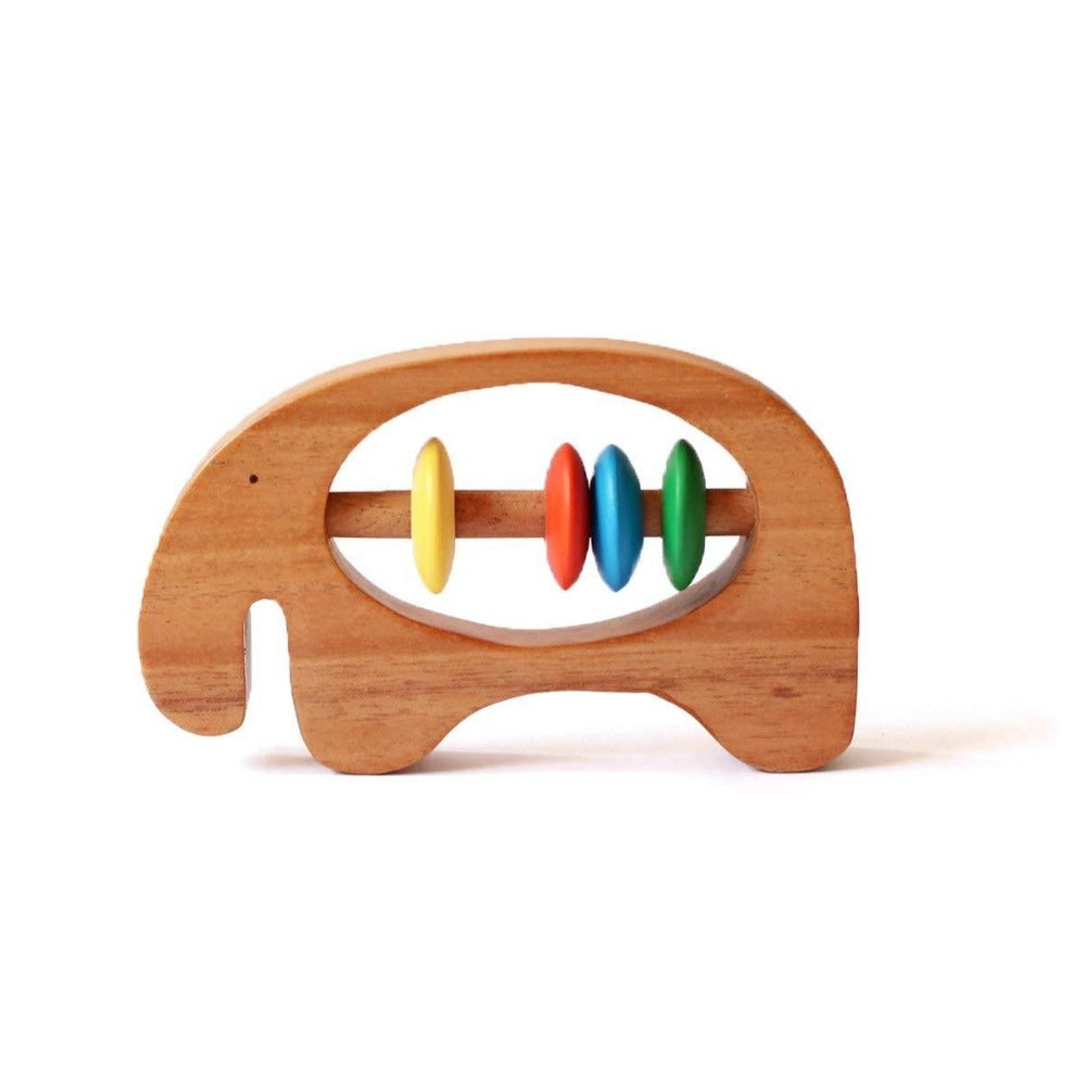 Shumee Organic Wooden Elephant Rattle and Teether for Babies