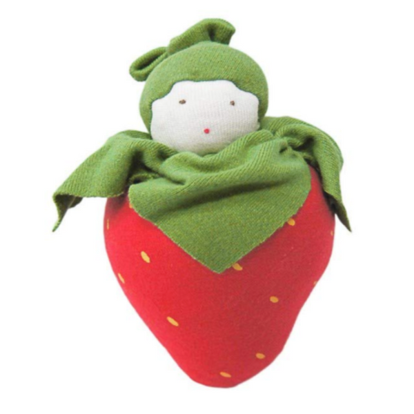 Under the Nile Organic Cotton Baby Teething Toy - Strawberry