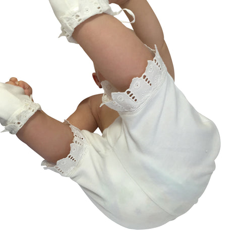 Victorian Organics White Cotton Lace Baby Bloomer Diaper Cover