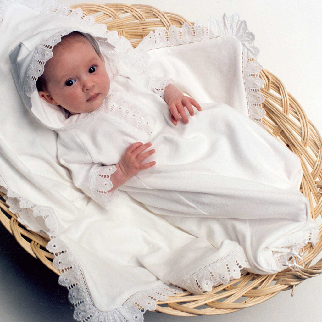Organic Cotton & Lace Baby Blanket - Heirloom Swaddle