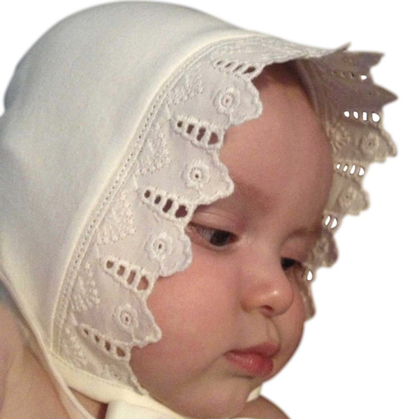 Victorian Style Organic Cotton Lace Baby Gift Hat