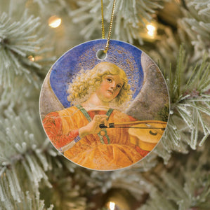 Vintage Style Home Decor Holiday Tree Ornament - Music Making Angel