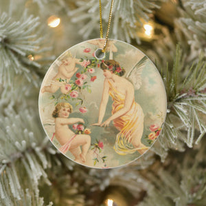 Vintage Style Home Decor Holiday Tree Ornament - Angel in Yellow with Cherubs