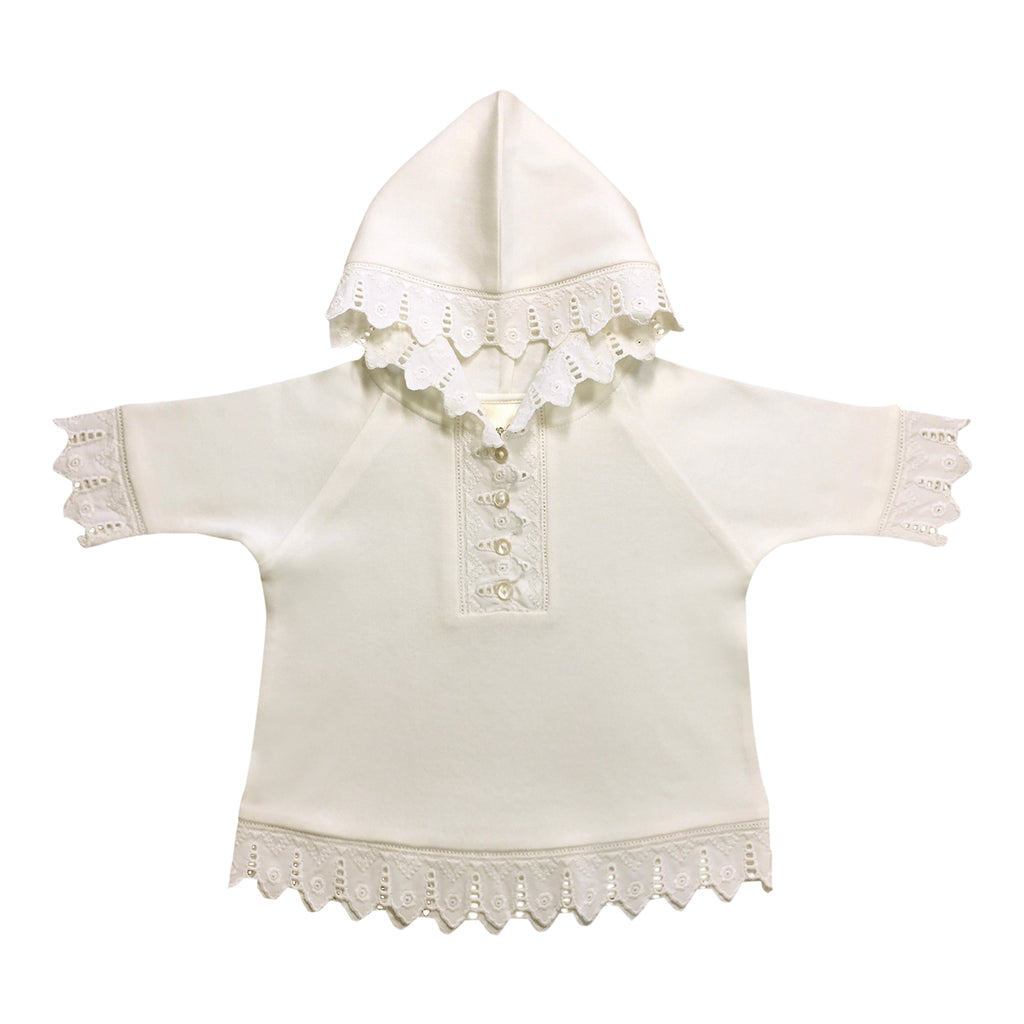 Eyelet Baby Hoodie - White Organic Cotton and Lace Shirt