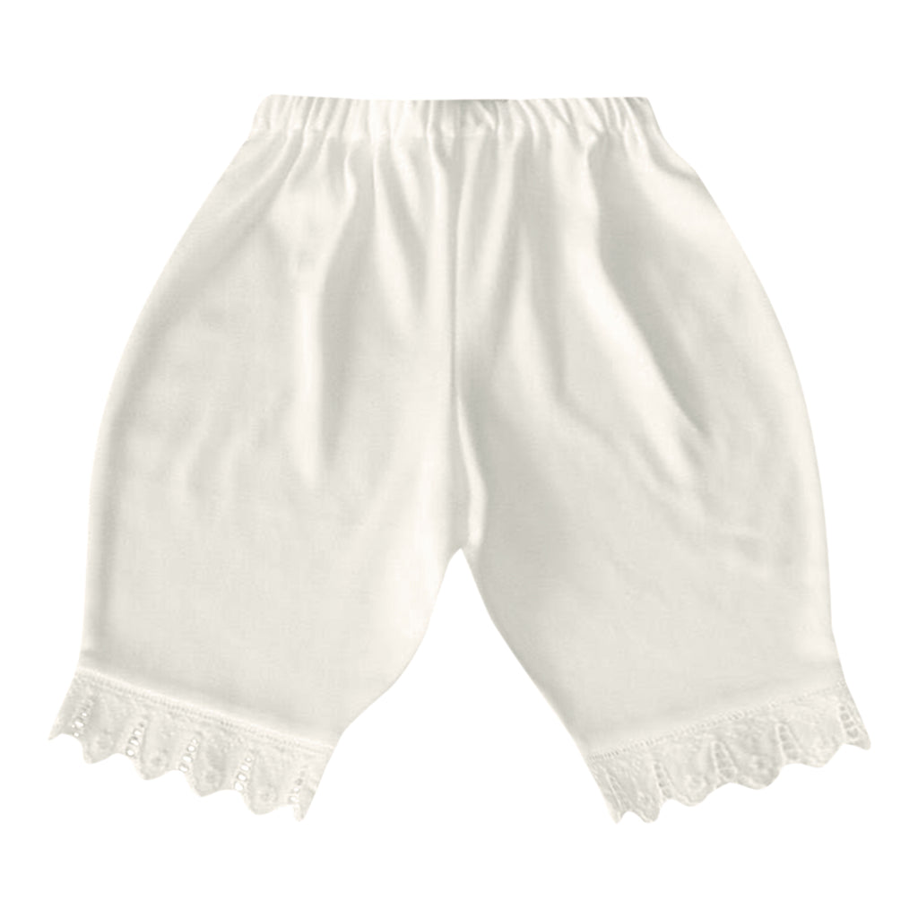 Victorian Organics White Cotton Lace Baby Bloomer Diaper Cover Pant
