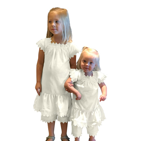 Victorian Organics White Lace Dress and Bloomer Sister Set Photo Prop