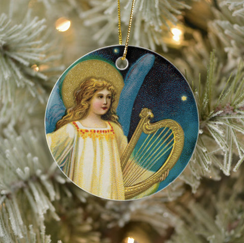 Vintage Style Christmas Tree Ornament - Angel in the Night With Harp