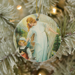 Vintage Style Christmas Tree Ornament - Guardian Angel Protecting Girl