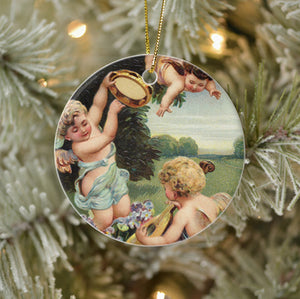 Vintage Style Collectible Angel Art Ornament - Cherubs Playing Music