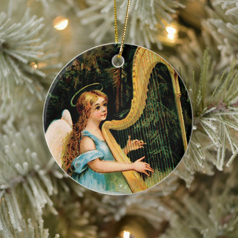 Vintage Style Collectible Art Ornament - Angel Playing Harp in Woods