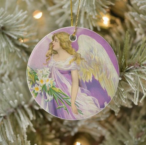 Vintage Style Collectible Art Ornament - Angel in Purple with Lilies