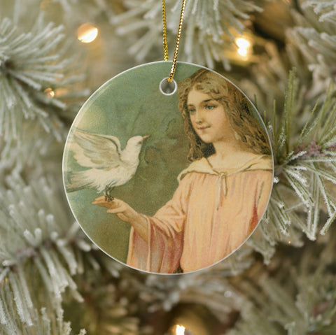 Vintage Style Collectible Art Ornament - Angelic Woman with Dove