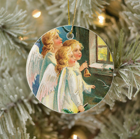 Vintage Style Collectible Christmas Tree Ornament - Angels at Window