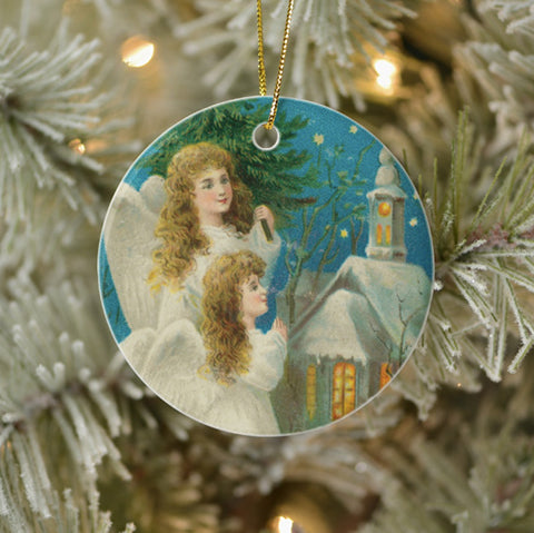 Vintage Style Home Decor Christmas Ornament - Angels Outside a Church