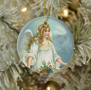 Vintage Style Home Decor Christmas Tree Ornament - Angel Bringing Toys