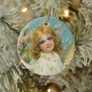 Vintage Style Home Decor Collectible Ornament - Angel Girl in White